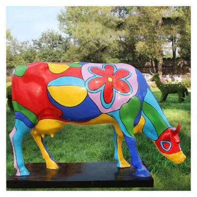 玻璃钢雕塑彩绘卡通牛 (3)