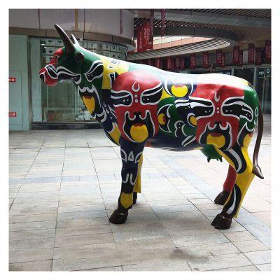 玻璃钢雕塑彩绘卡通牛 (4)
