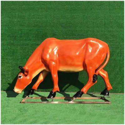 玻璃钢仿真黄牛雕塑 (2)