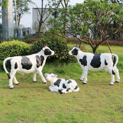 玻璃钢仿真奶牛雕塑 (2)