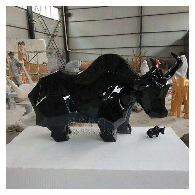 玻璃钢抽象牛雕塑工艺品