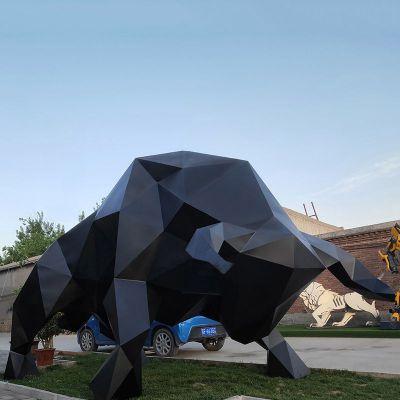 抽象华尔街牛大型玻璃钢雕塑 (2)
