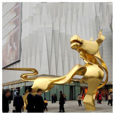 鎏金抽象牛铜雕