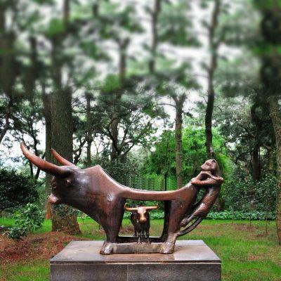 铜雕牛 抽象雕塑
