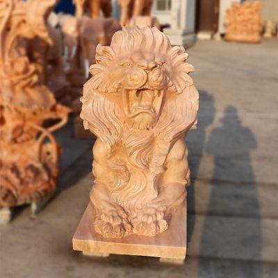 汇丰狮子晚霞红石雕