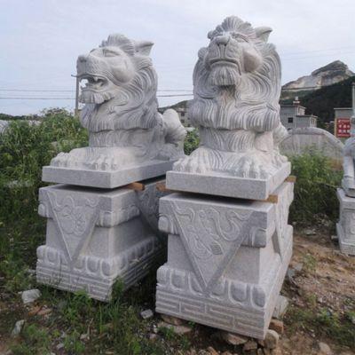 汉白玉汇丰狮子石雕