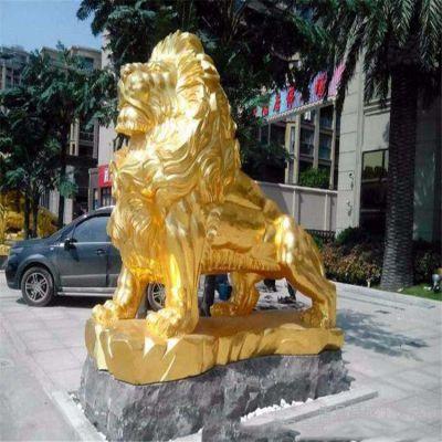 金色的西洋狮子铜雕塑
