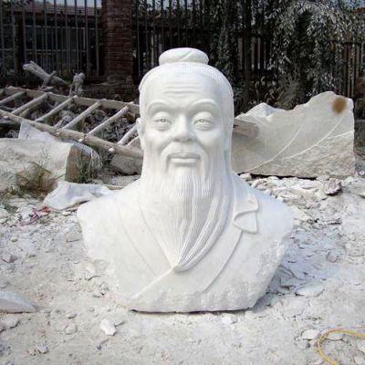 汉白玉石雕孔子头像