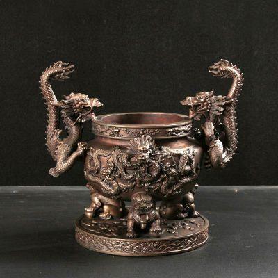 九龙宝鼎铜雕