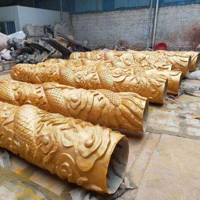 龙柱铜雕刻