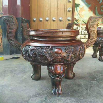圆形龙纹香炉铜雕