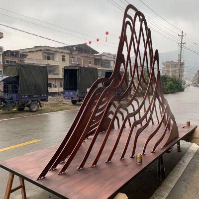 不锈钢假山形水景雕塑