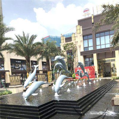 不锈钢海豚喷泉