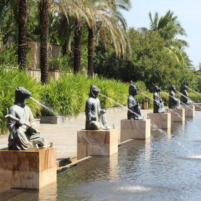 铜雕动物喷泉景观雕塑