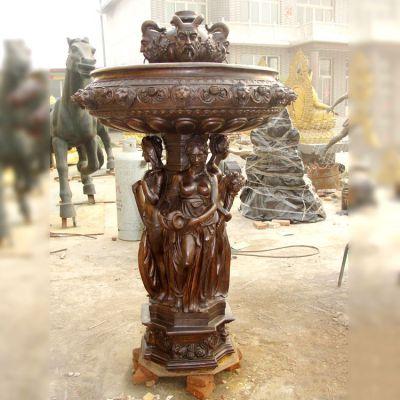 欧式人物铜雕像喷泉
