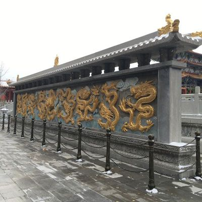 铜雕九龙影壁墙
