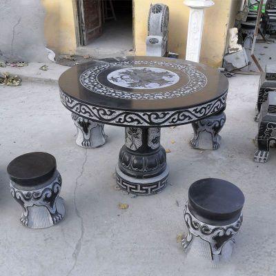 青石仿古石雕桌凳