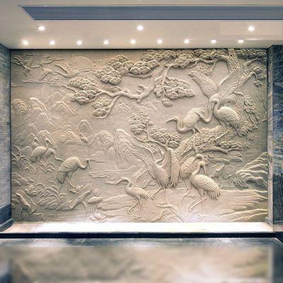 松鹤延年室内墙面装修浮雕画