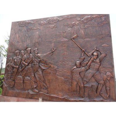 山水人物铜浮雕