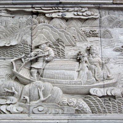 山水景观石雕浮雕墙