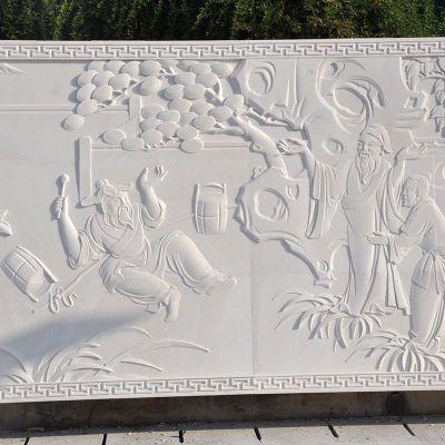 古代人物汉白玉石材浮雕