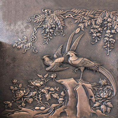 喜鹊紫铜浮雕装饰画