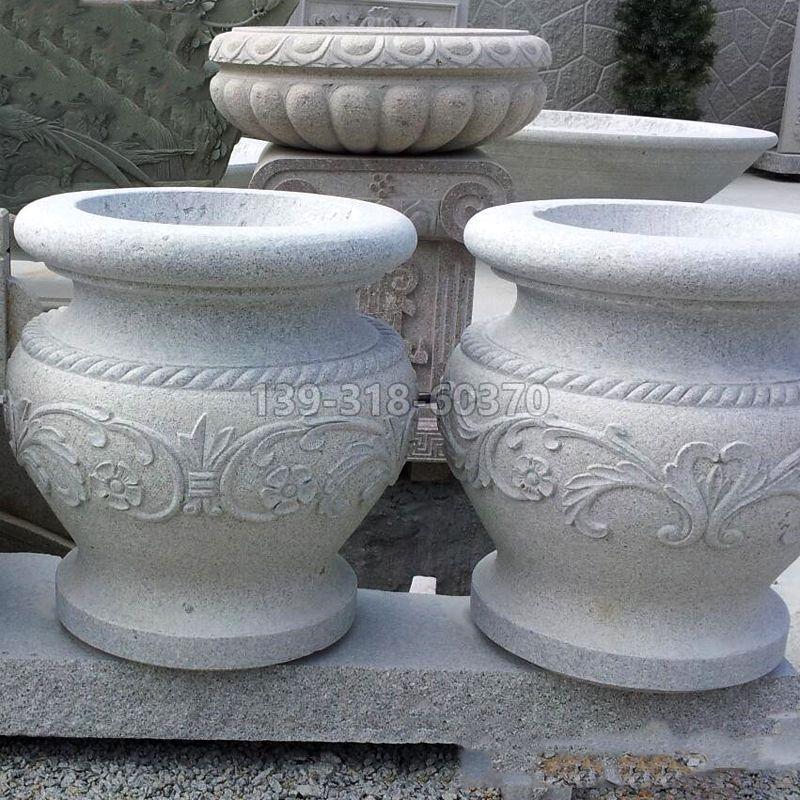 砂岩刻画花盆石雕
