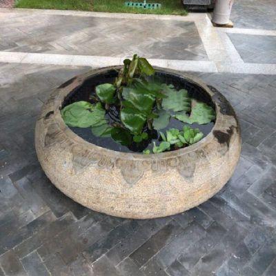 别墅庭院仿古做旧石雕鱼缸