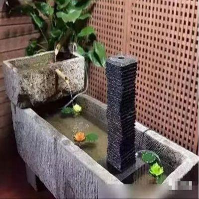 室内流水鱼缸石雕摆件