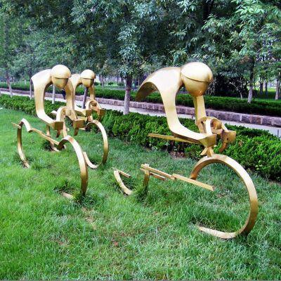 不锈钢骑自行车抽象人物雕塑