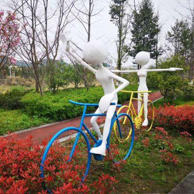 公园玻璃钢骑自行车女孩