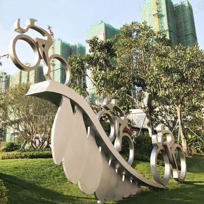 不锈钢骑自行车人物景观雕塑