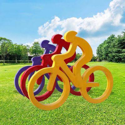 玻璃钢抽象人物骑自行车雕塑