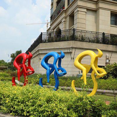 玻璃钢骑车人物雕塑