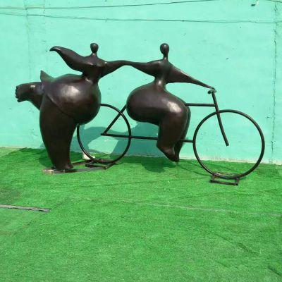 骑车女孩铜雕塑