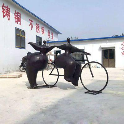 骑自行车的胖女孩铜雕小品雕塑