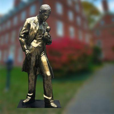 玻璃钢仿铜校园爱迪生全身雕塑