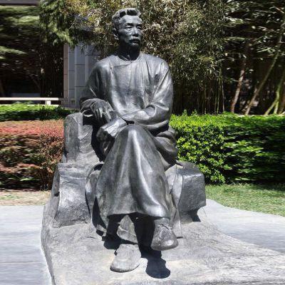 公园名人鲁迅铜雕像