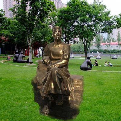 校园名人鲁迅先生玻璃钢仿铜雕像
