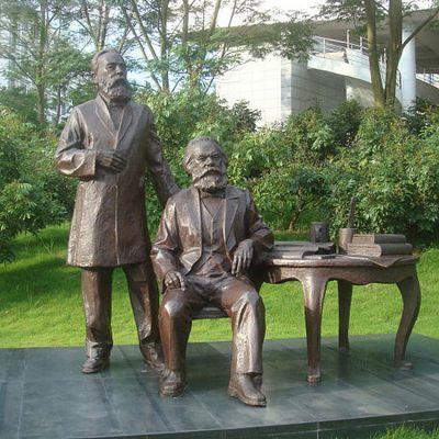 马克思和恩格斯城市情景小品铜雕塑