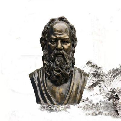 校园名人苏格拉底头像雕塑