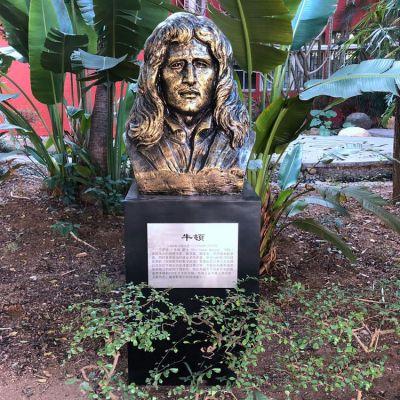 牛顿纯铜头像雕塑