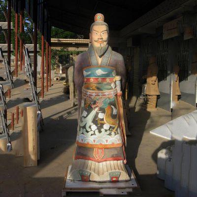 玻璃钢彩绘秦始皇塑像