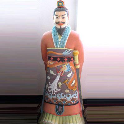 秦始皇玻璃钢彩绘雕塑