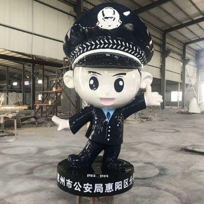 可爱的警察卡通雕塑