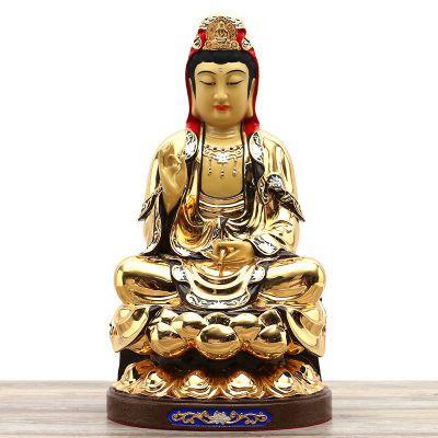 鎏金观世音菩萨纯铜雕塑
