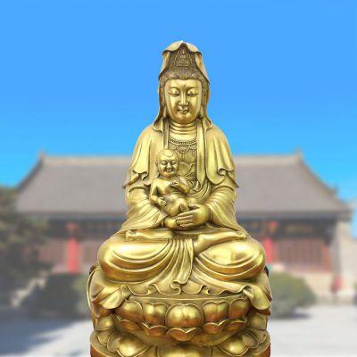 纯铜观音坐姿鎏金铜雕