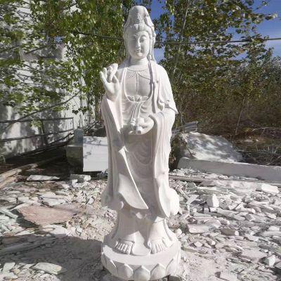 汉白玉观音菩萨石雕塑