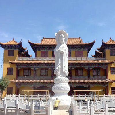 大型寺庙汉白玉观音石雕塑