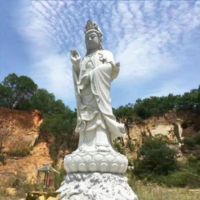 观音菩萨石雕大型景观雕塑